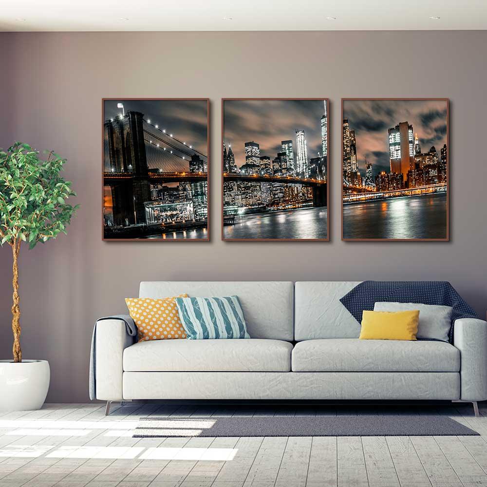 Kit com 03 Quadros Decorativos Ponte do Brooklyn Noturna