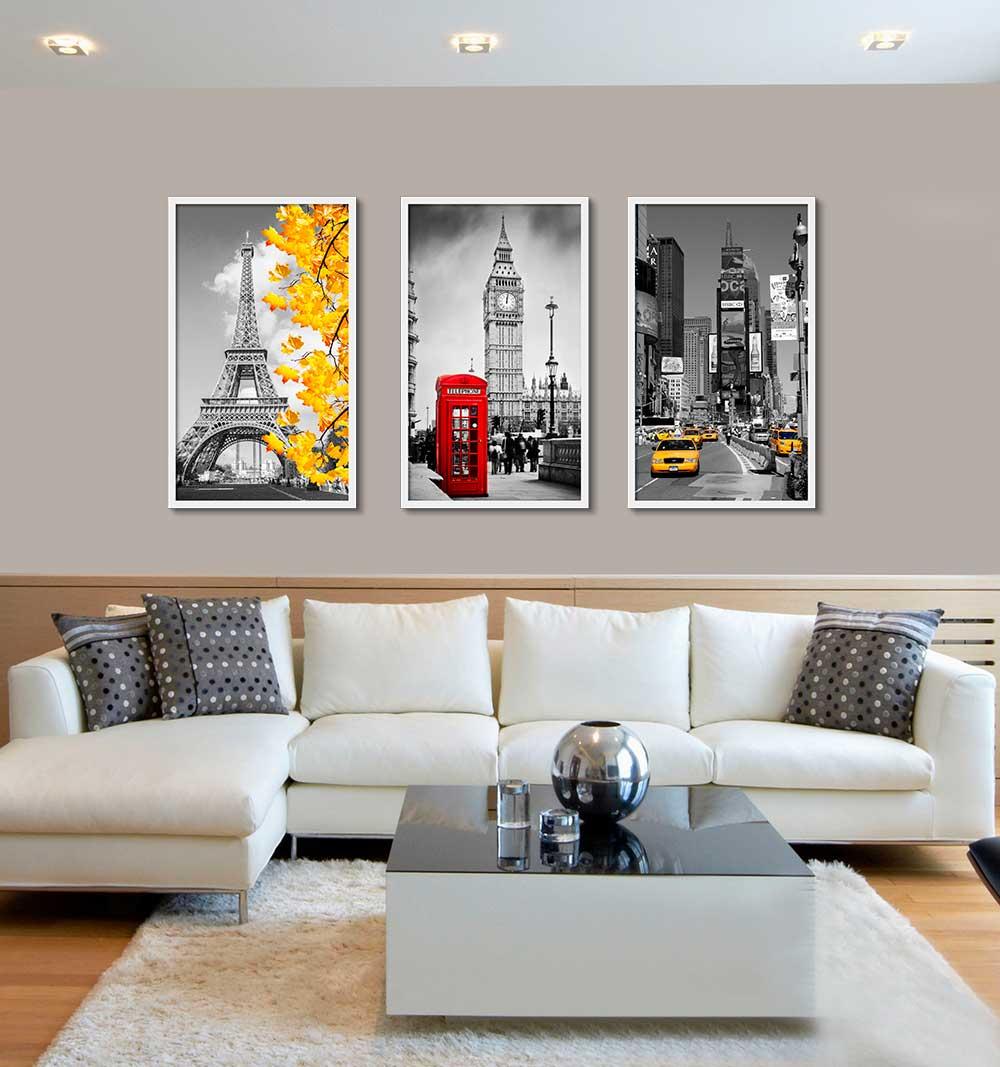 Kit com 03 Quadros Decorativos Tema Urbano Cidades
