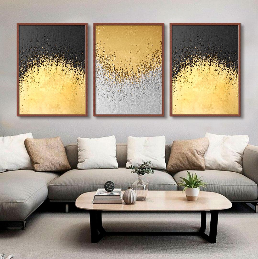 Kit com 03 Quadros Decorativos Textura Dourado