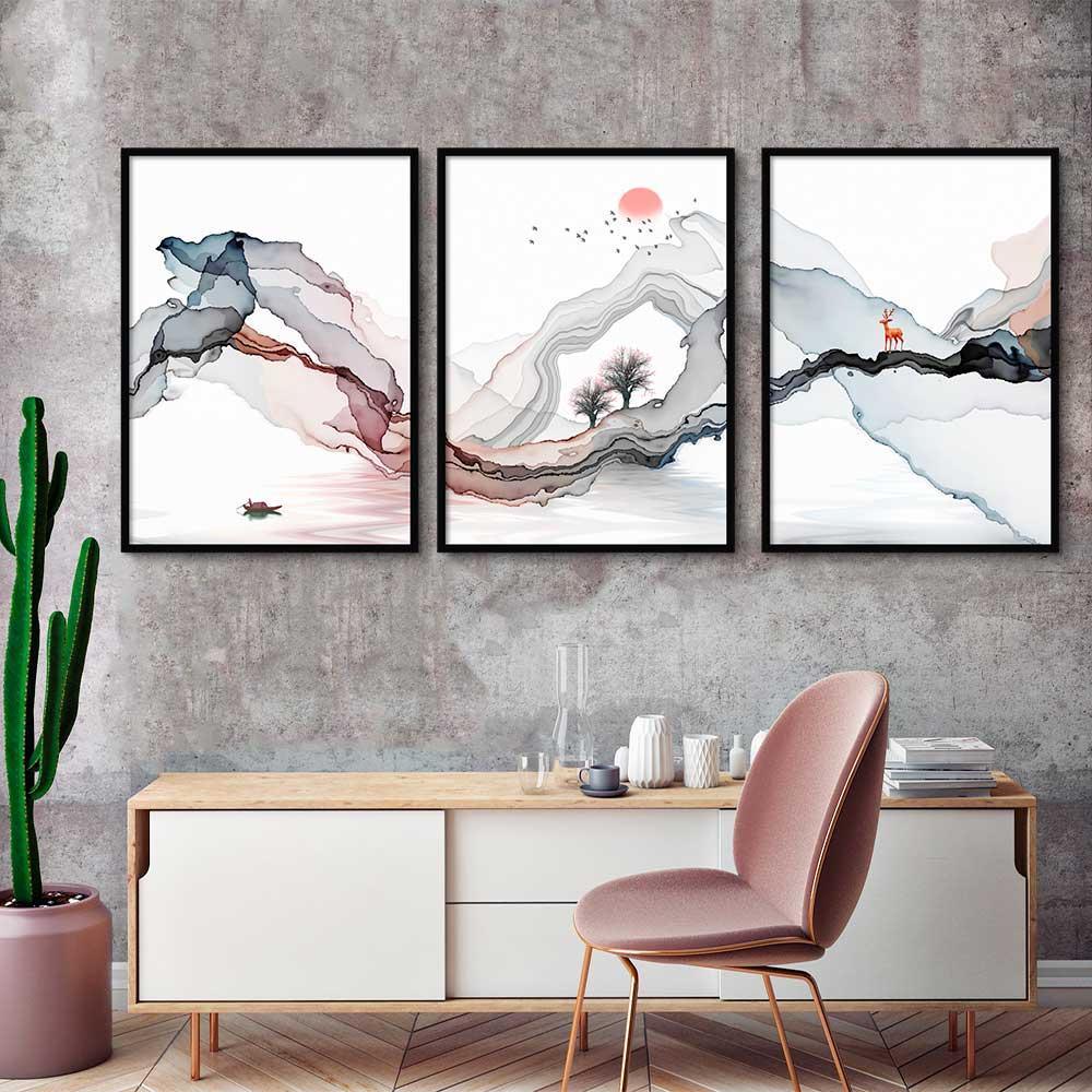 Kit com 03 Quadros Paisagem Abstrata Fine Art