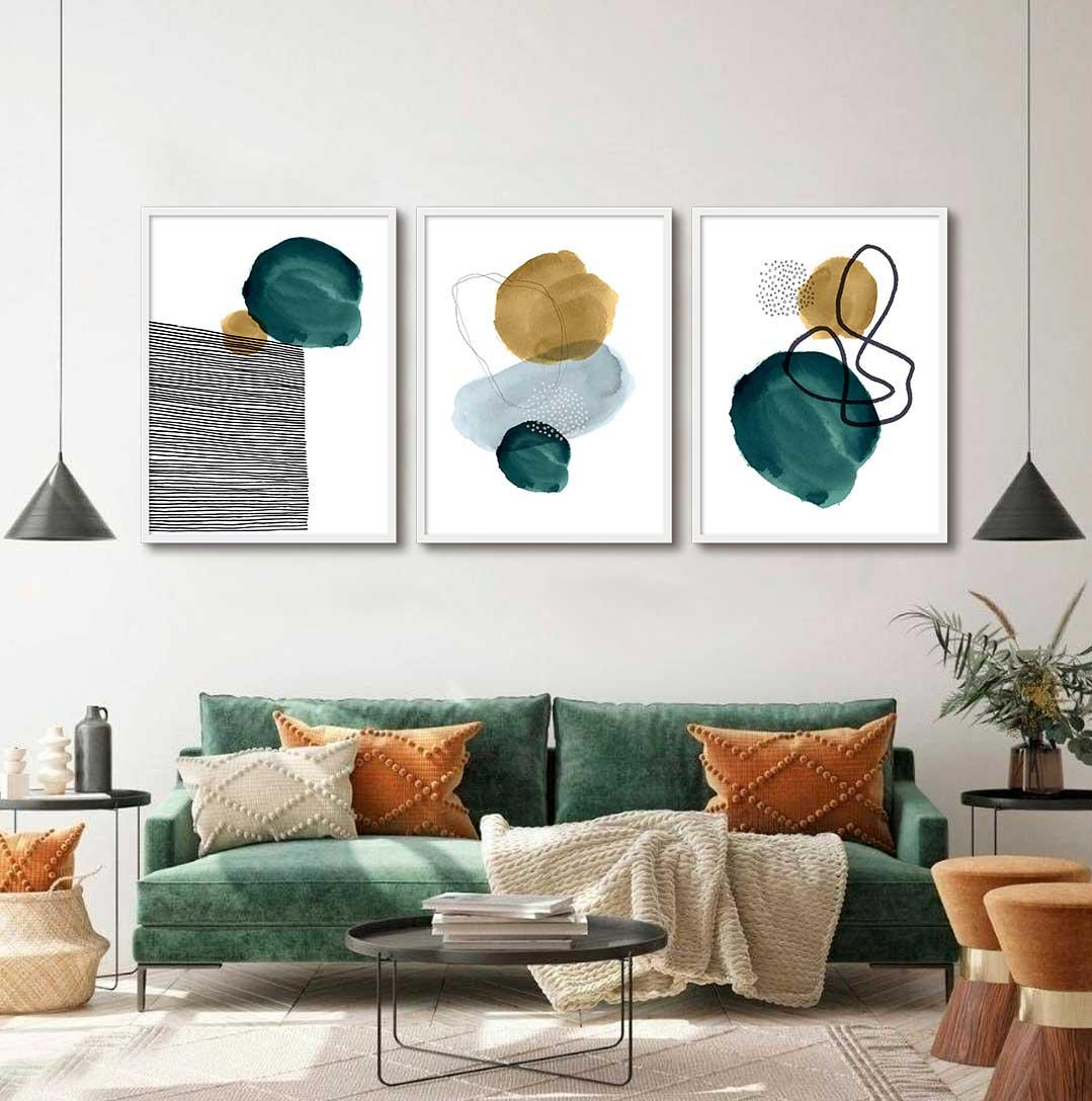 Kit de 03 Quadros Decorativos Abstrato Arte Moderna