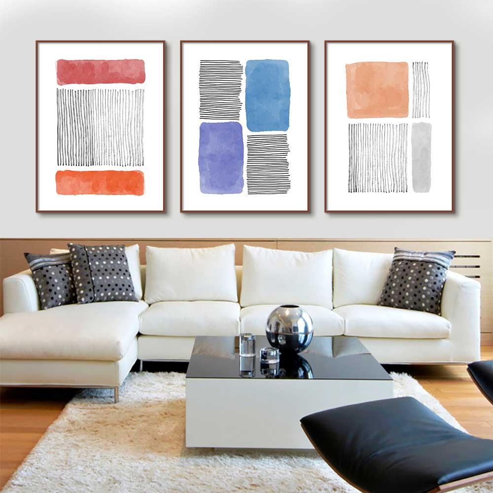 Kit de 03 Quadros Decorativos Arte Desenhos Coloridos