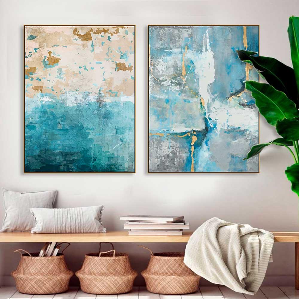 Kit de Quadros Decorativos Abstrato Azul Artístico Personalizado Canvas