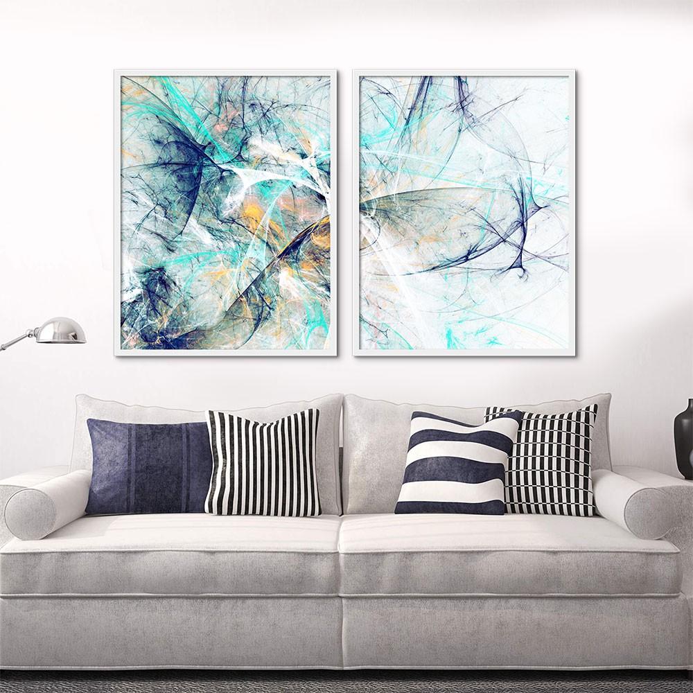 Kit de Quadros Decorativos Abstrato Azul Personalizado