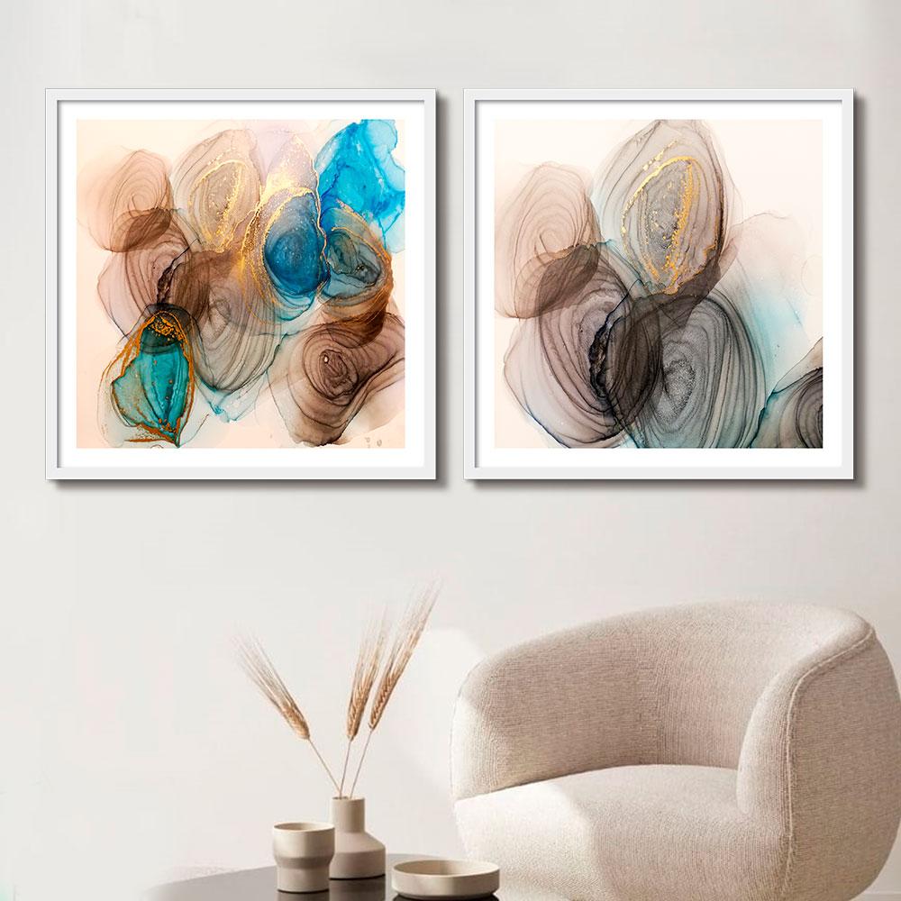 Kit de Quadros Decorativos Abstrato Color