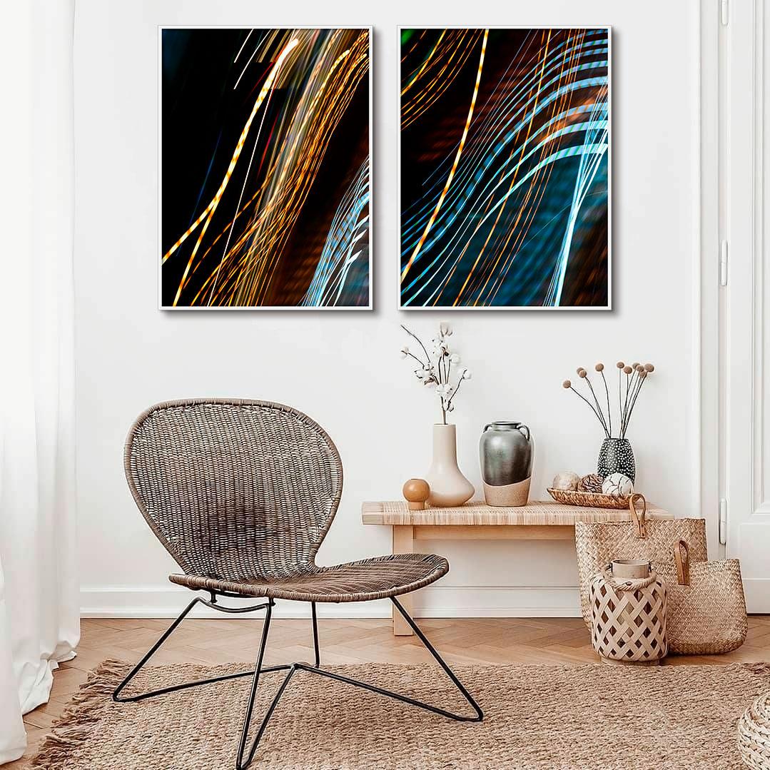 Kit De Quadros Decorativos Abstrato Efeito Luzes Artístico