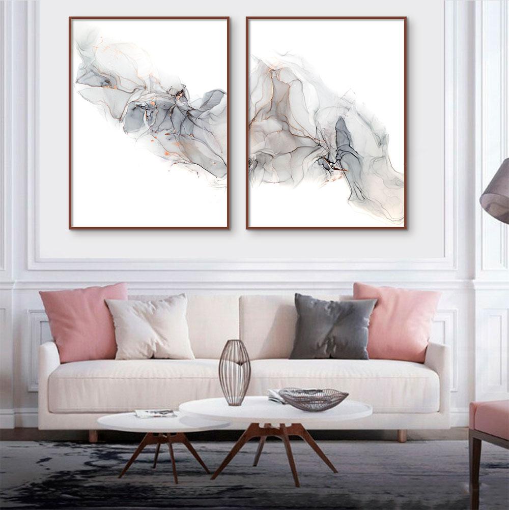 Kit de Quadros Decorativos Abstrato Marmorizado Gray and Gold