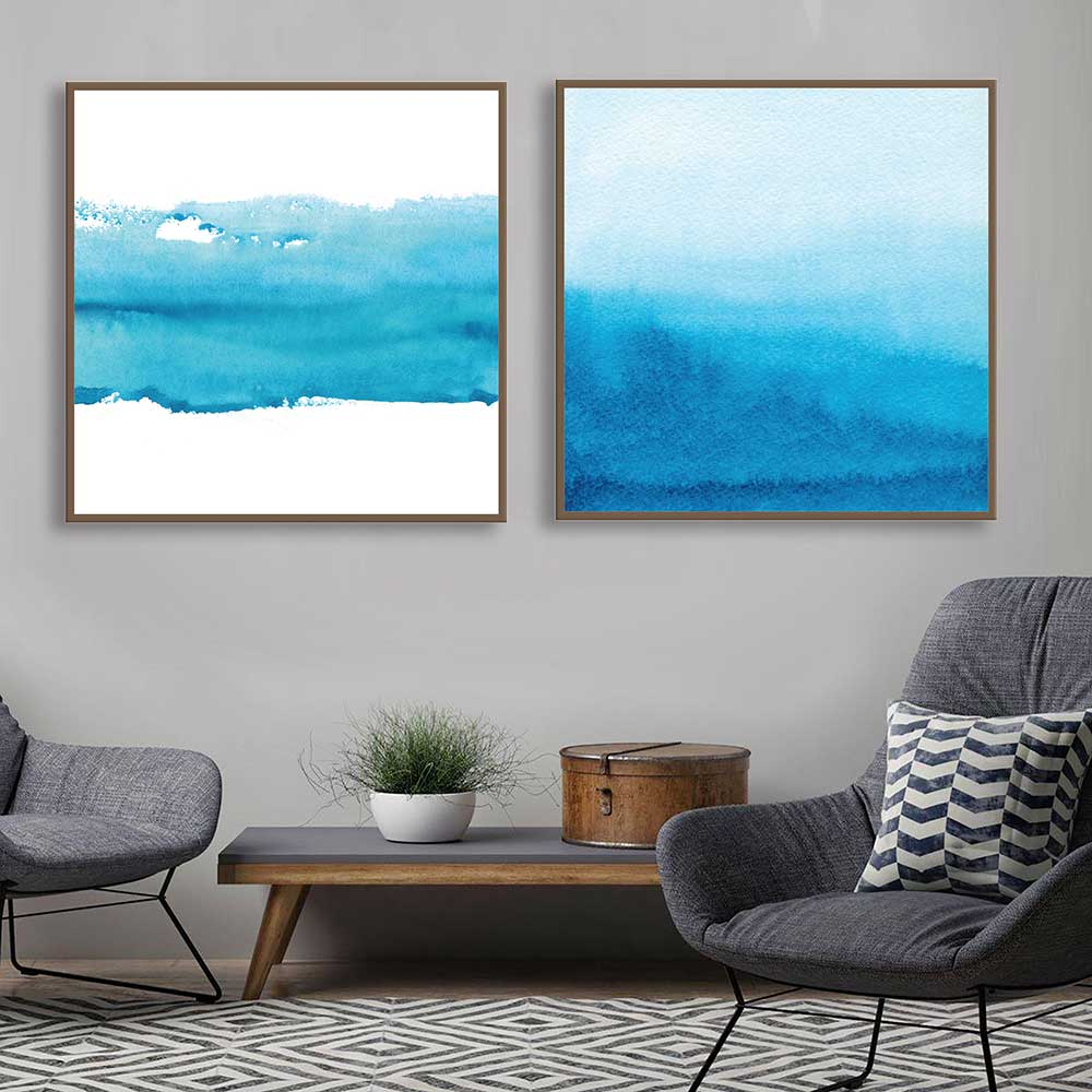 Kit de Quadros Decorativos Abstratos Azuis