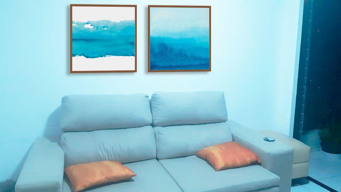 Kit de Quadros Decorativos Abstratos Azuis PERSONALIZADO MARTA