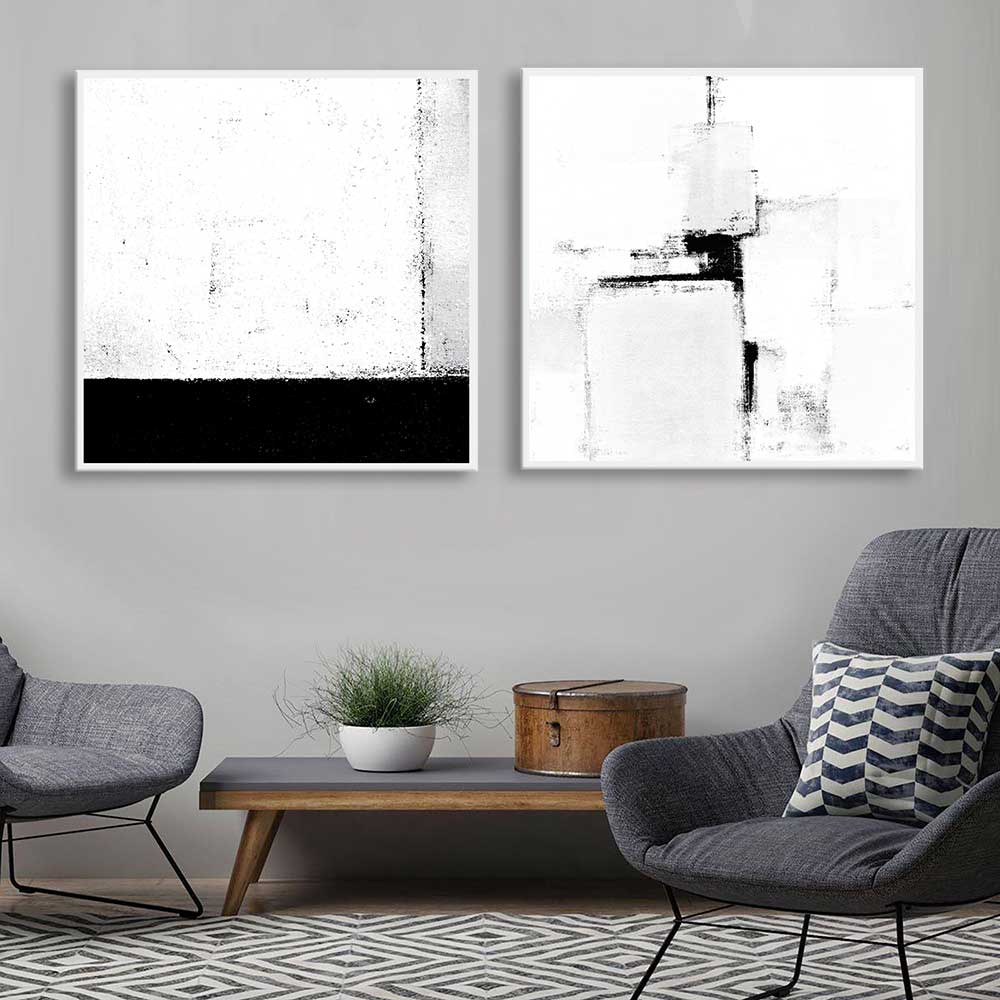 Kit de Quadros Decorativos Abstratos Preto e Branco