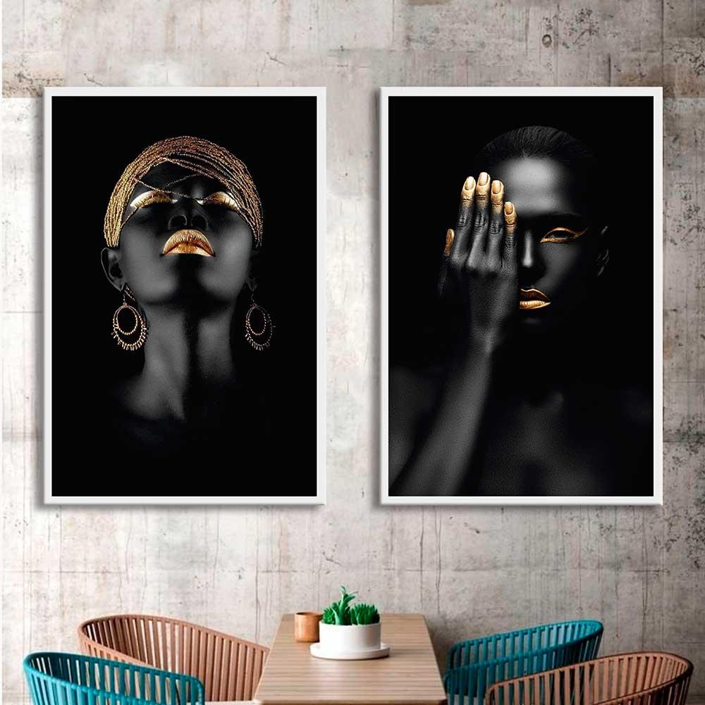 Kit de Quadros Decorativos Arte com Mulheres Negras