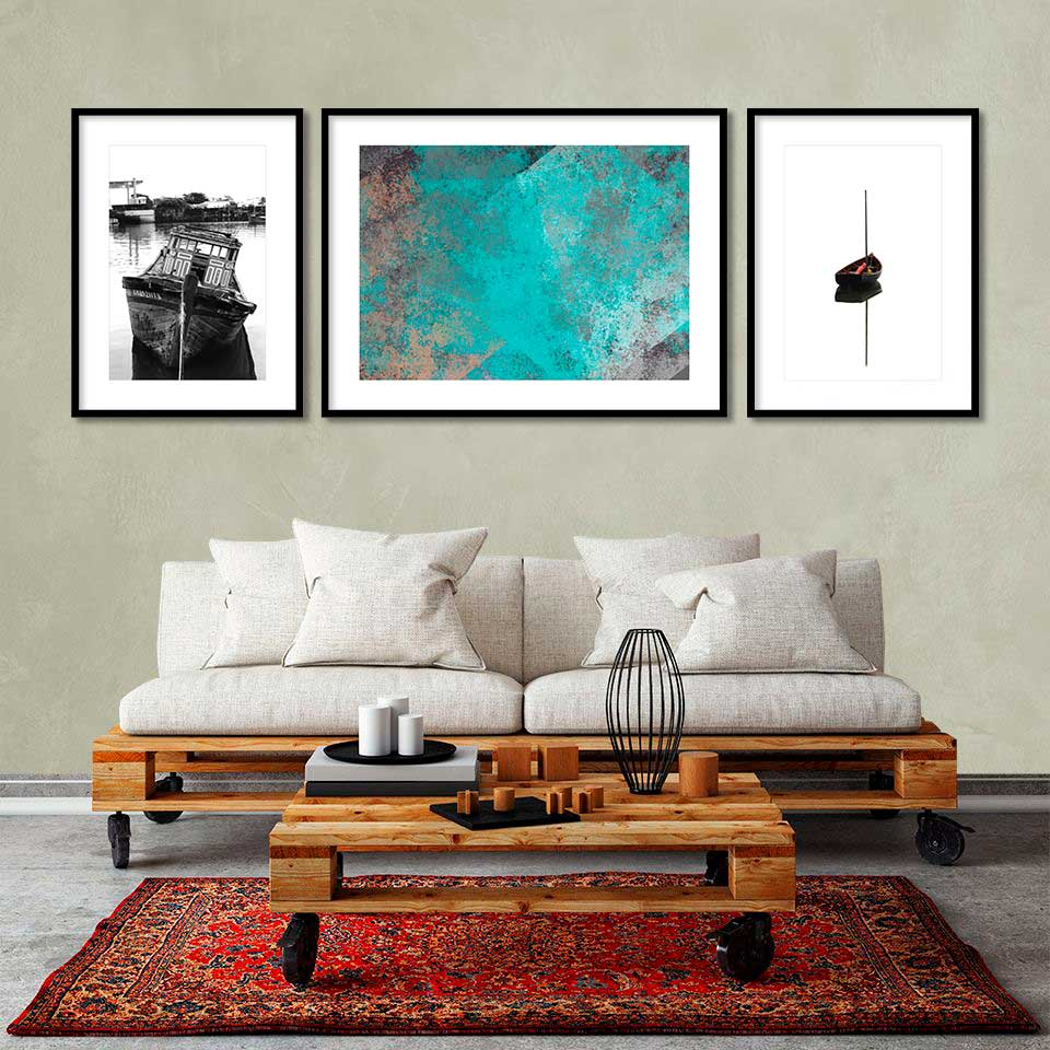 Kit de Quadros Decorativos Barcos e Abstrato 03 pçs