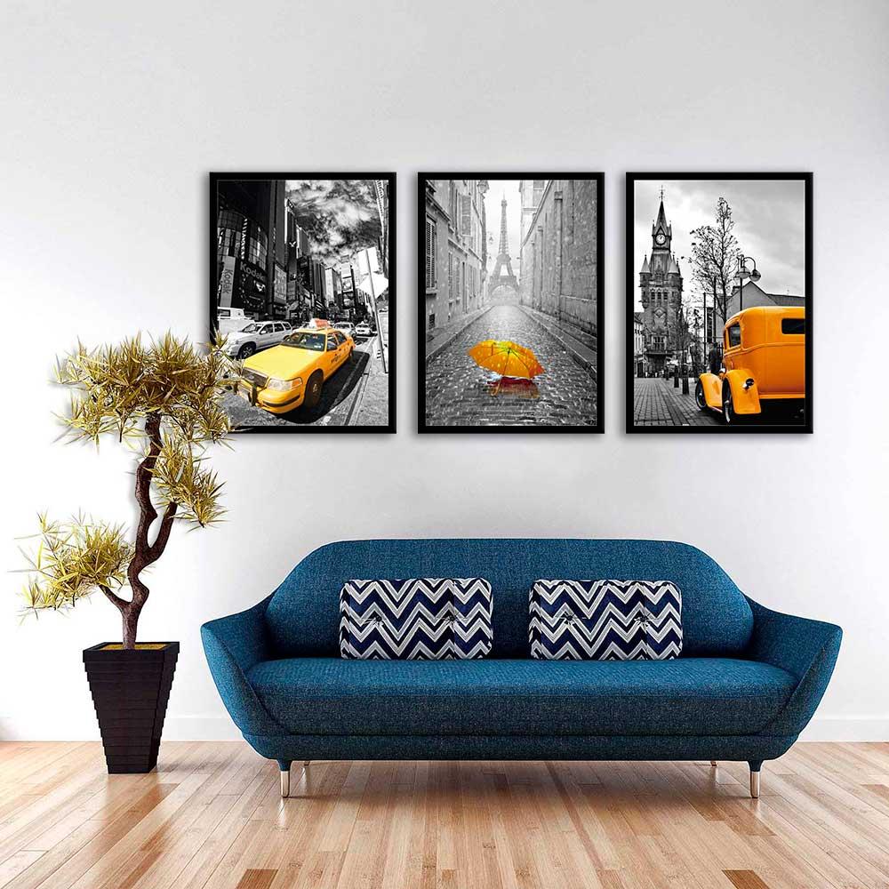Kit de quadros decorativos carro e guarda chuva amarelo