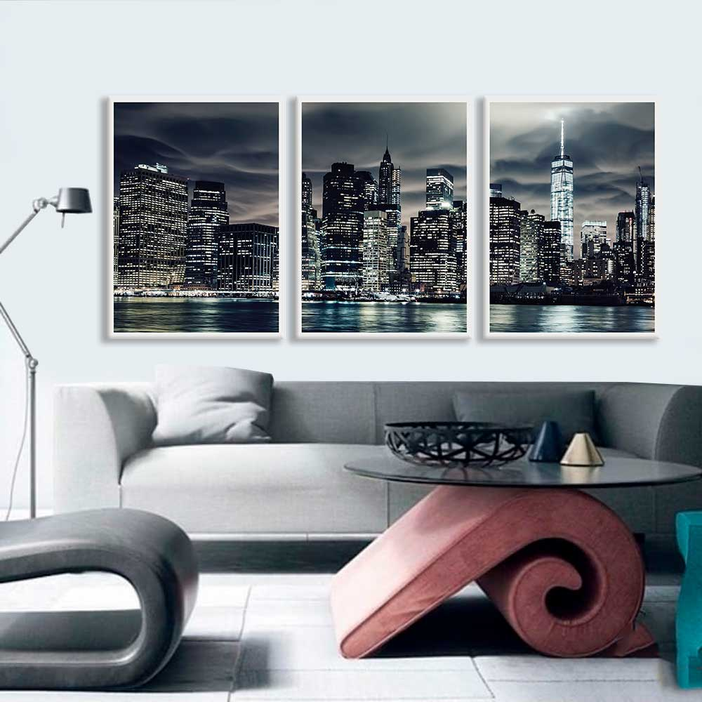 Kit de Quadros Decorativos Cidade Noturna NY