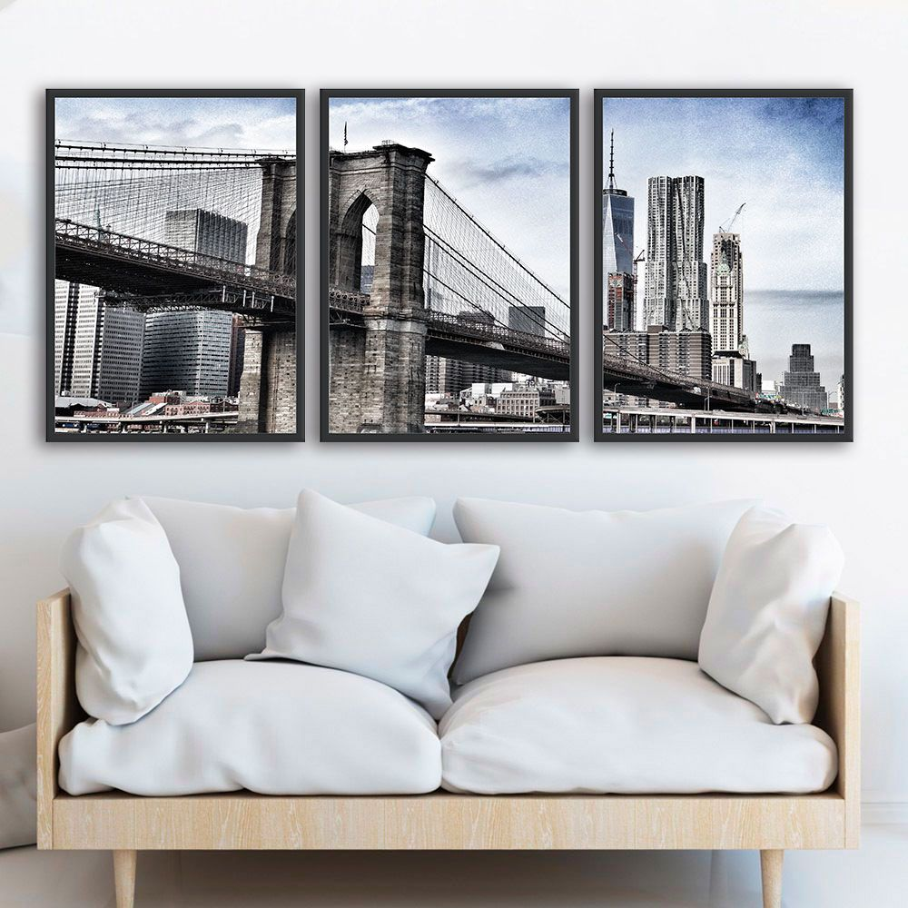 Kit de Quadros Decorativos Cidade NY Brooklyn Bridge