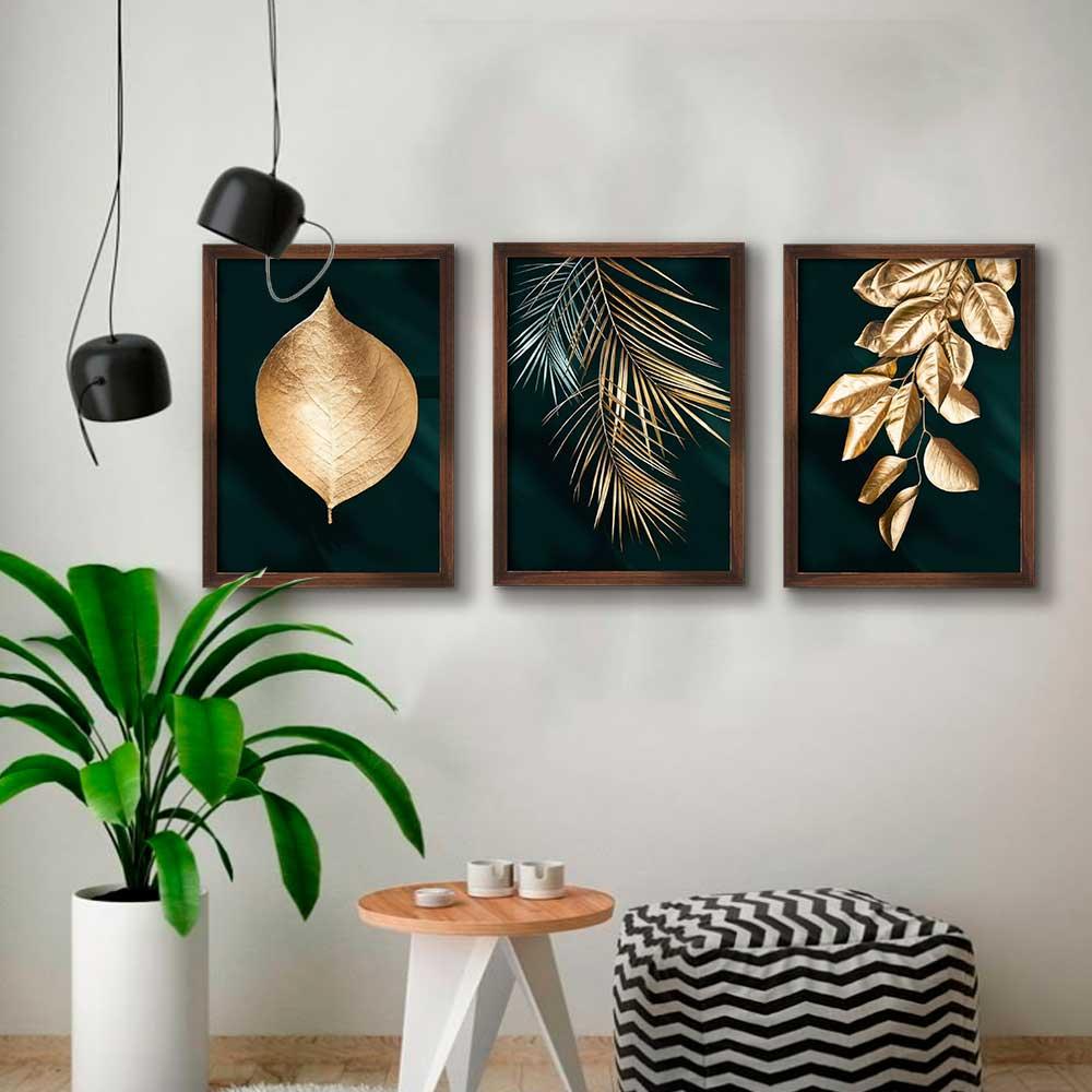 Kit de Quadros Decorativos Folhas e Folhagens Douradas