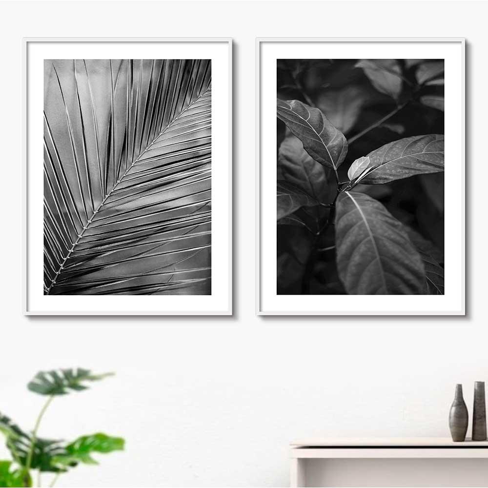 Kit de Quadros Decorativos Folhas e Folhagens Preto e Branco