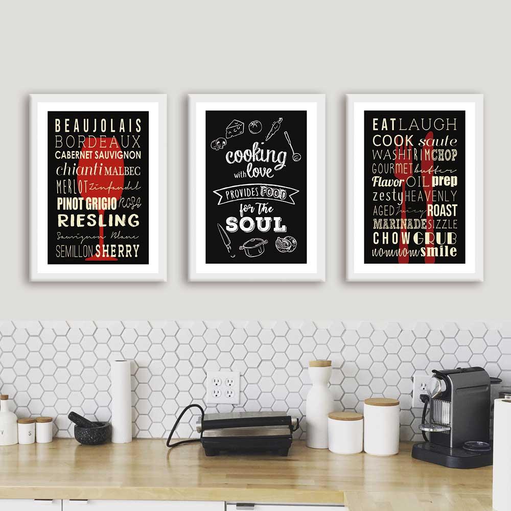 Kit de Quadros Decorativos Frases Para Cozinha