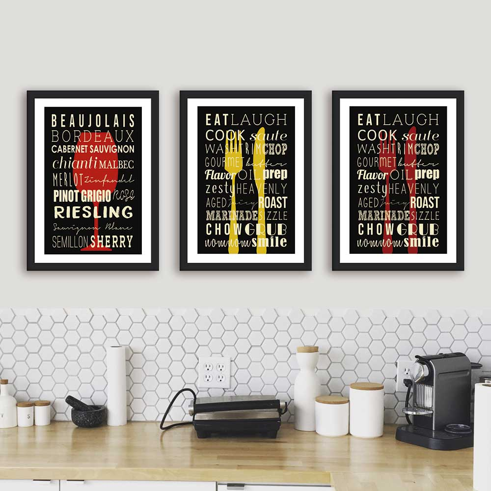 Kit de Quadros Decorativos Frases Para Cozinha Gourmet
