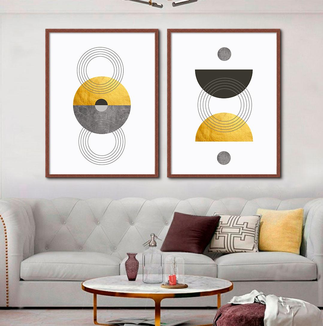 Kit de Quadros Decorativos Geométricos Arte Claudia Dias