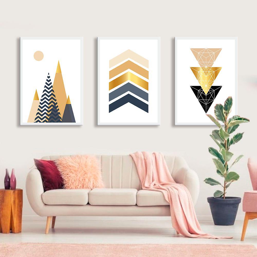 Kit de Quadros Decorativos Geométricos Gold
