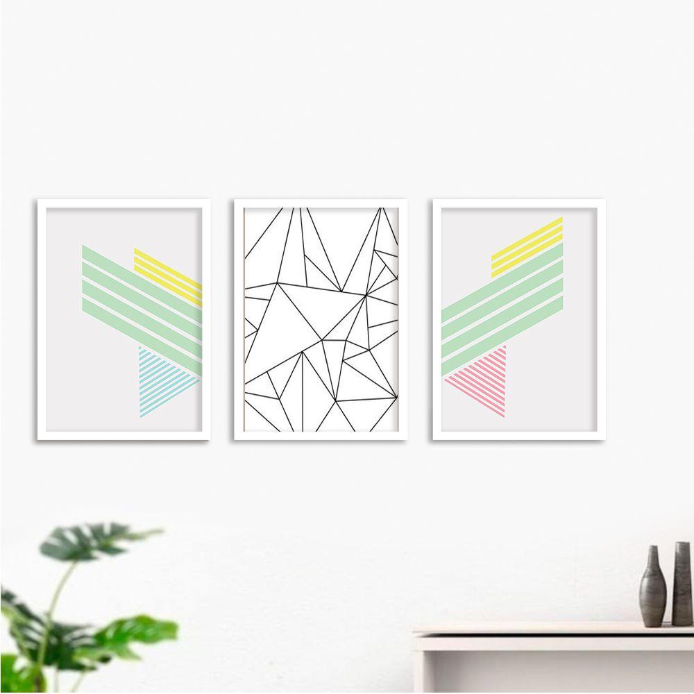 Kit de Quadros Decorativos Geométricos Linhas