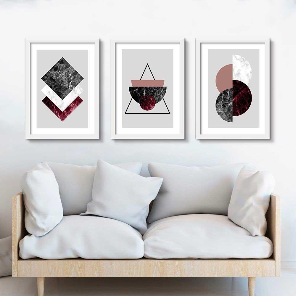 Kit de Quadros Decorativos Geométricos Marble
