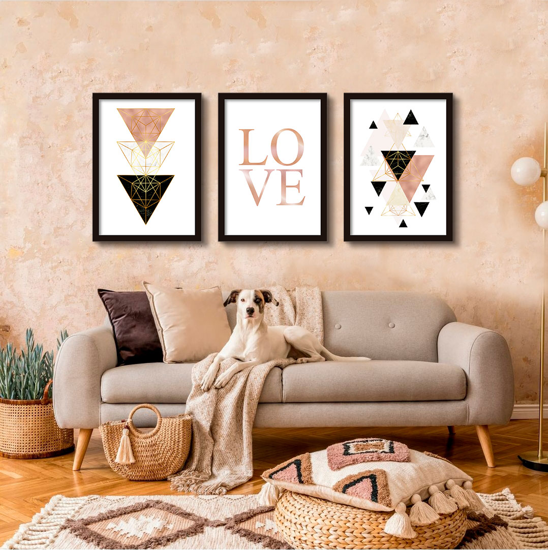 Kit de Quadros Decorativos Geométricos Rosê & Love