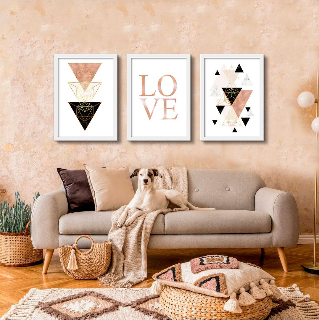 Kit de Quadros Decorativos Geométricos Rosê & Love