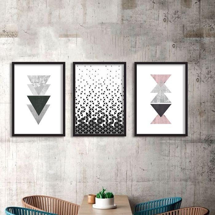 Kit de Quadros Decorativos Geométricos Triangulos
