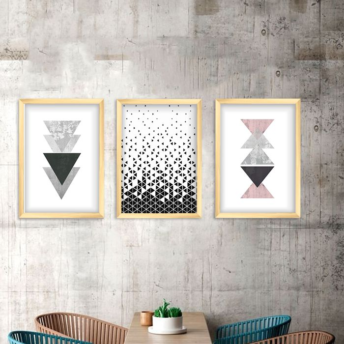 Kit de Quadros Decorativos Geométricos Triangulos