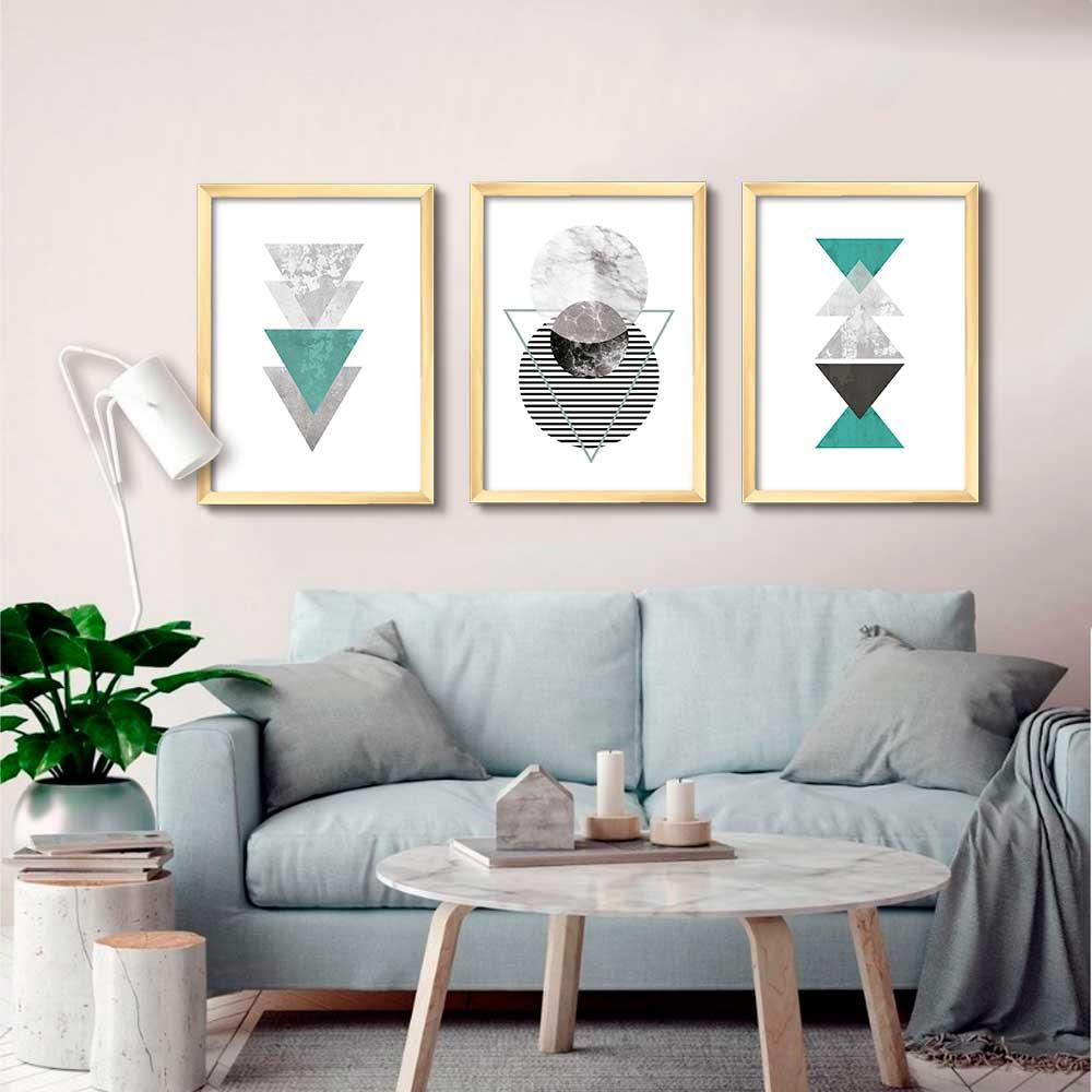 Kit de Quadros Decorativos Geométricos Verde