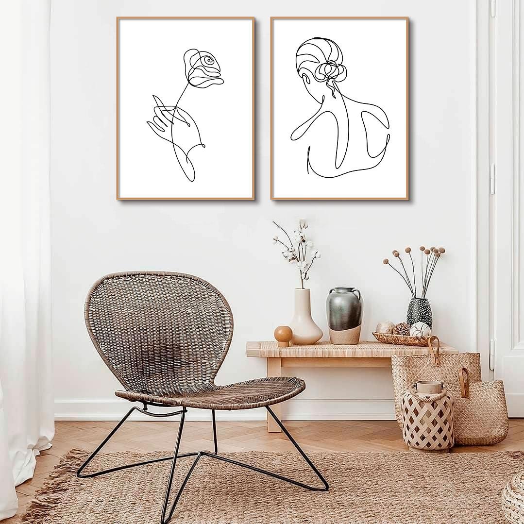 Kit de Quadros Decorativos Minimalistas Fine Line - Flor e Mulher de Costas