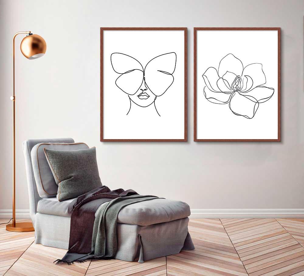 Kit de Quadros Decorativos Minimalistas Fine Line - Flor e Rosto com Borboleta