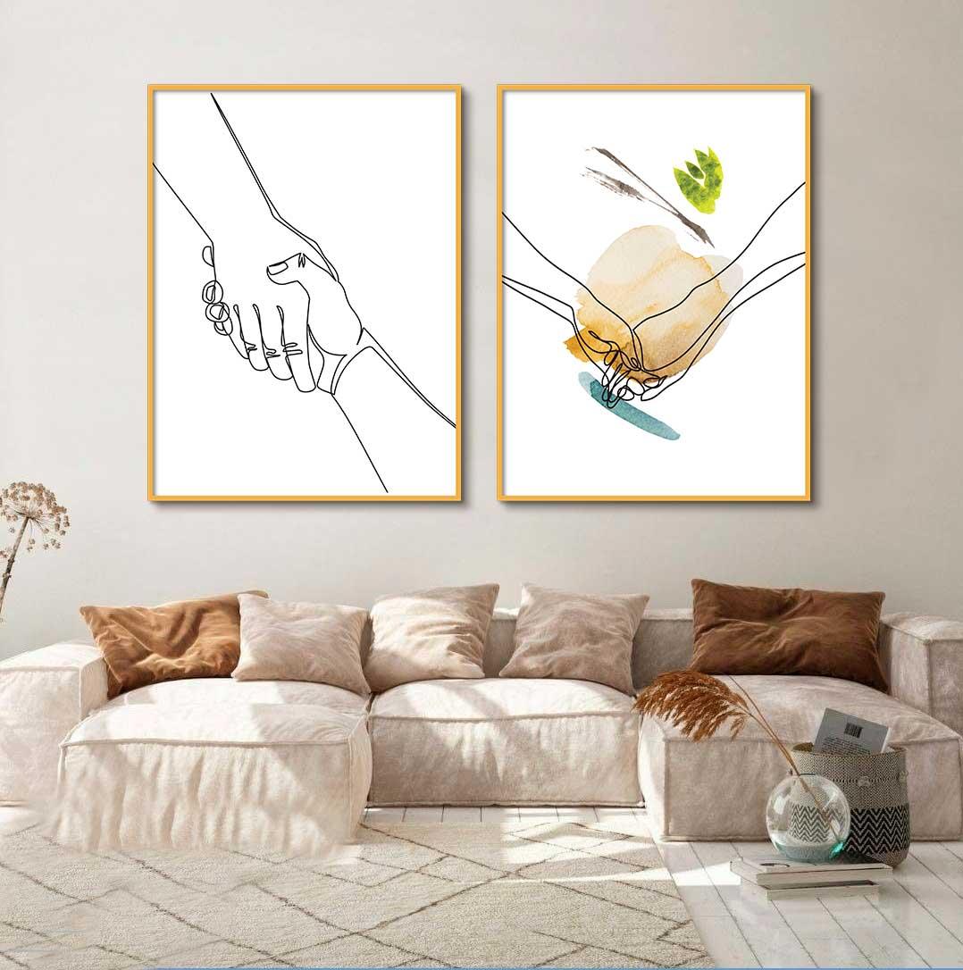Kit de Quadros Decorativos Minimalistas Fine Line - Mãos Dadas