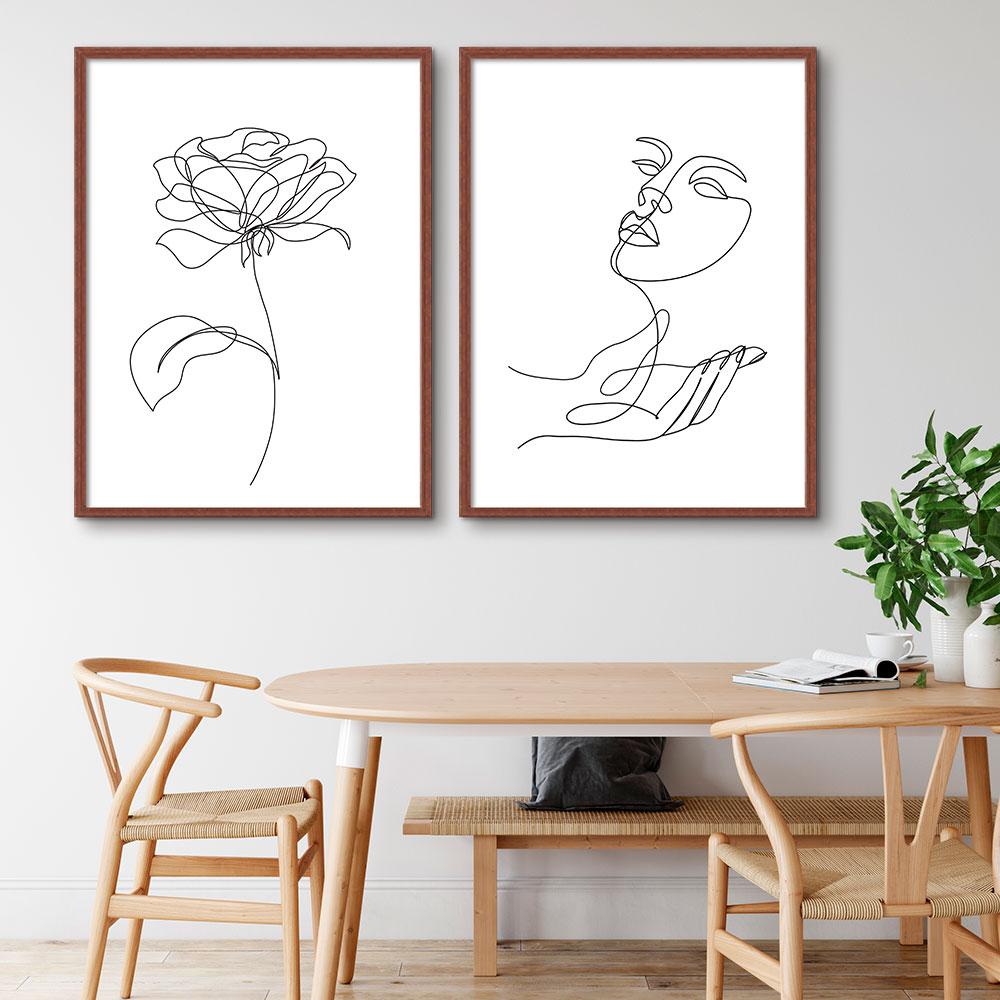 Kit de Quadros Decorativos Minimalistas Fine Line - Rosto e Flor