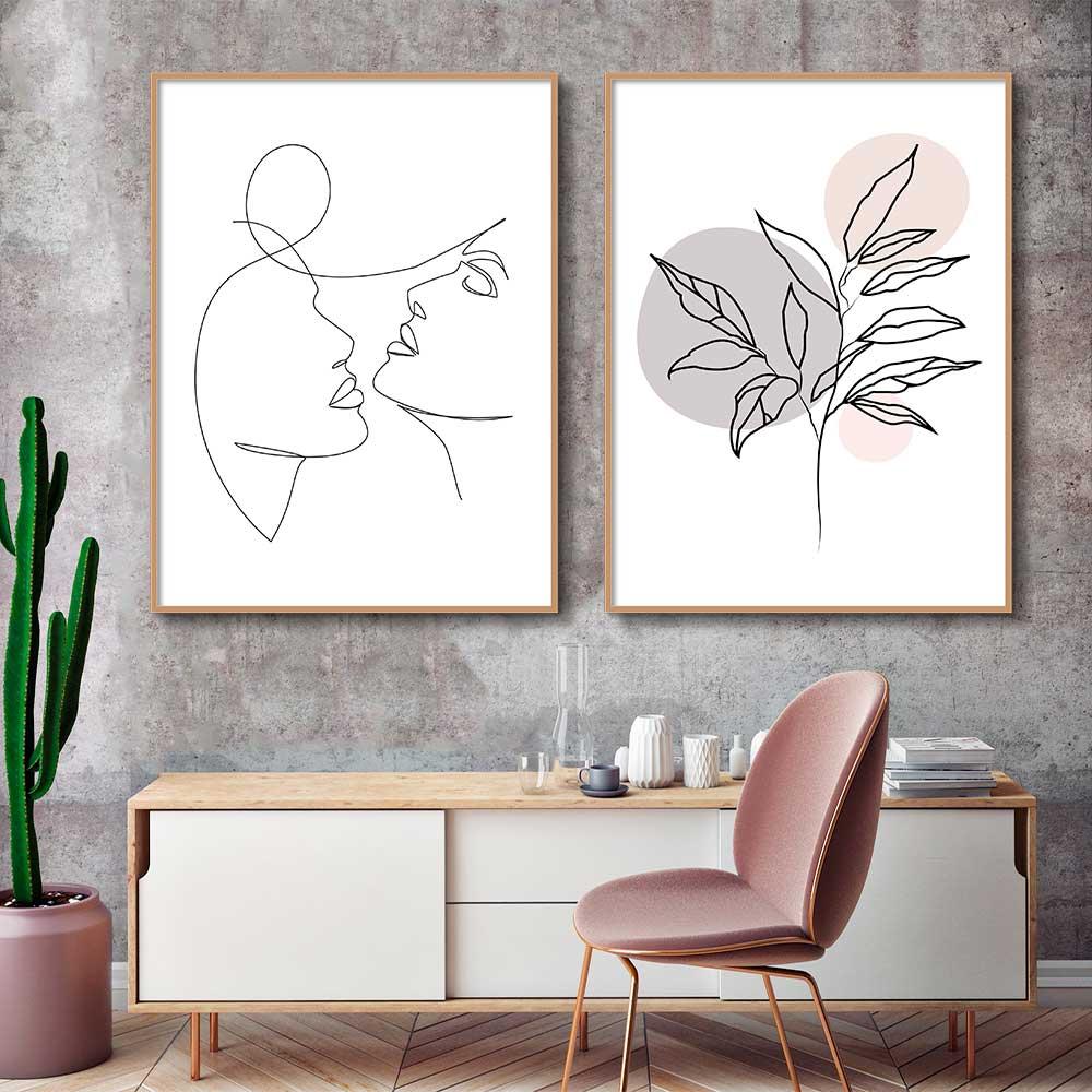Kit de Quadros Decorativos Minimalistas Fine Line - Rostos e Flor Abstrata