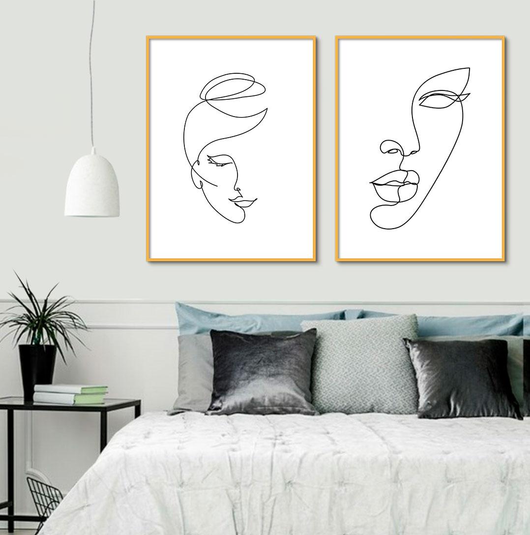 Kit de Quadros Decorativos Minimalistas Fine Line - Rostos Femininos