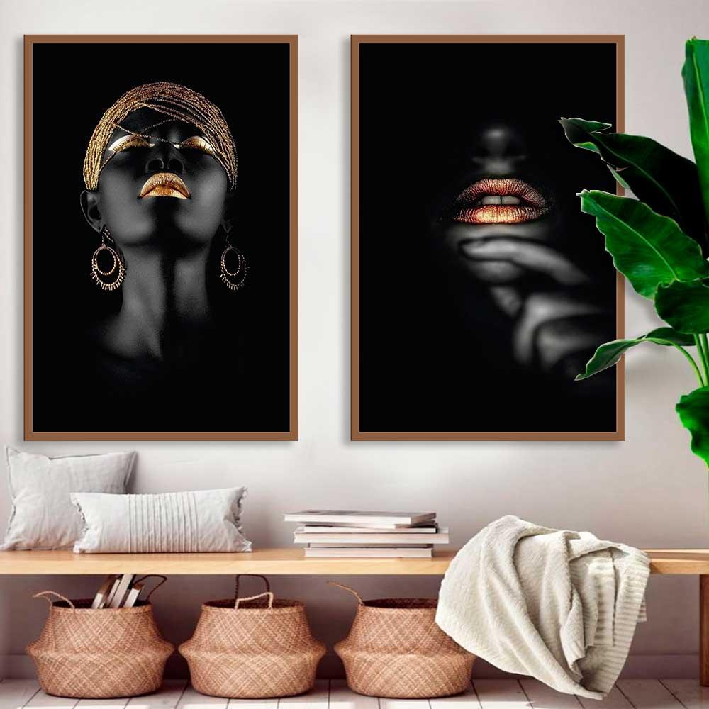 Kit de Quadros Decorativos Mulheres Negras Artistico