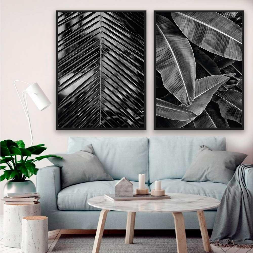 Kit de Quadros Decorativos Natureza Preto e Branco