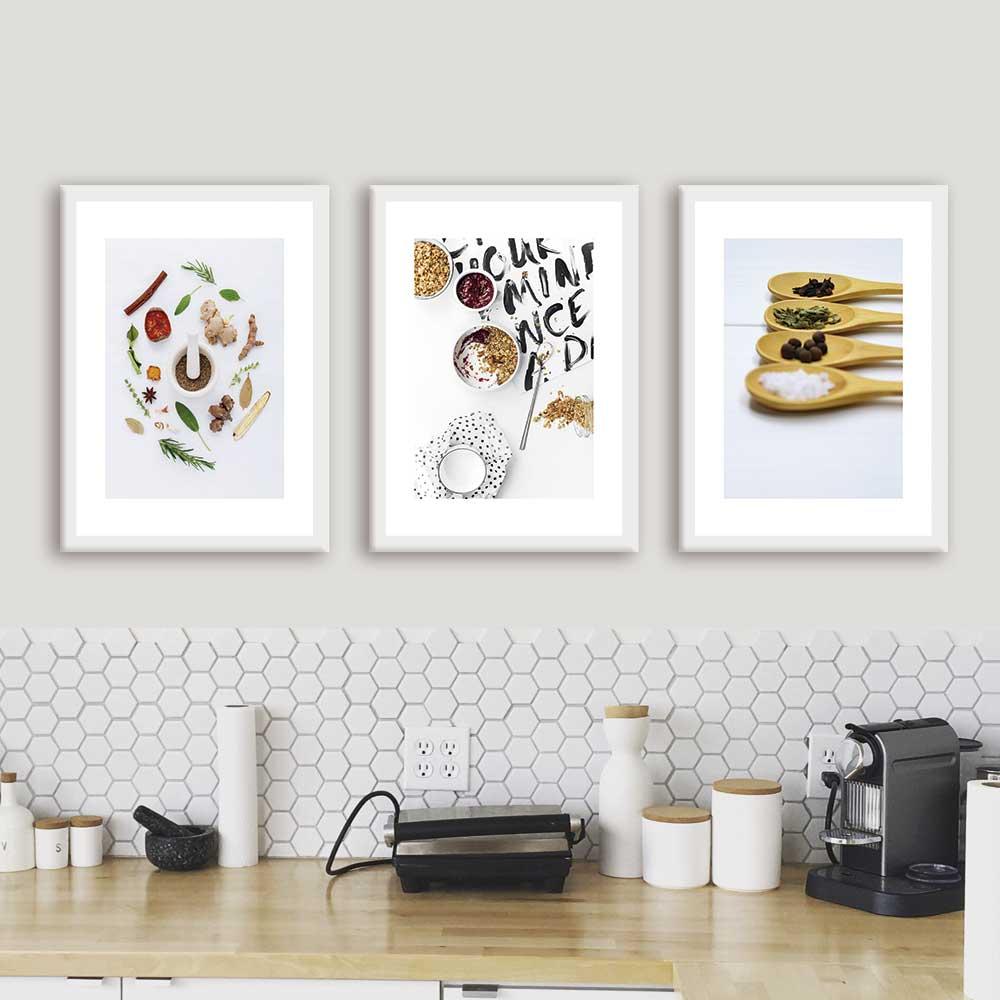 Kit de Quadros Decorativos Para Cozinha Especiarias