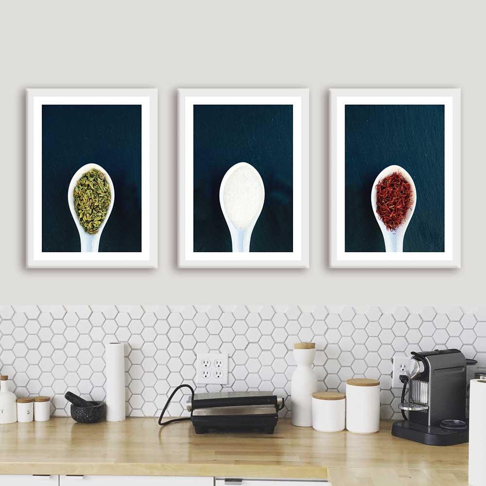 Kit de Quadros Decorativos Para Cozinha Temperos Colher
