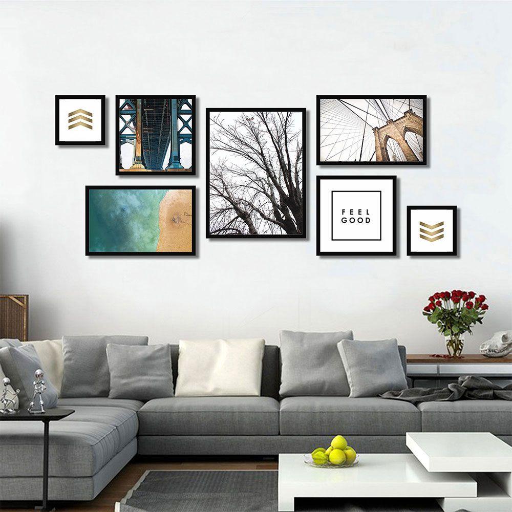 Kit de Quadros Decorativos Para Sala - Composição de Quadros