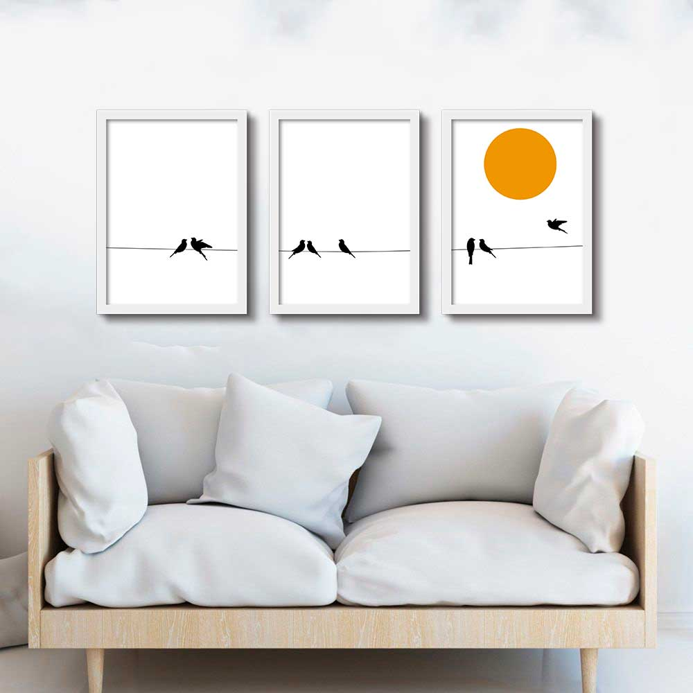 Kit de Quadros Decorativos Pássaros Minimalista