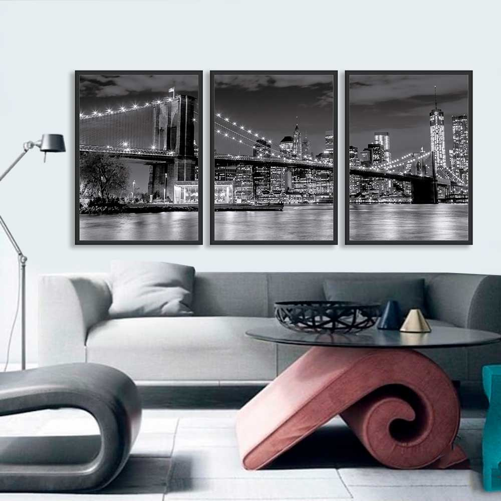Kit de Quadros Decorativos Ponte do Brooklyn Noturna