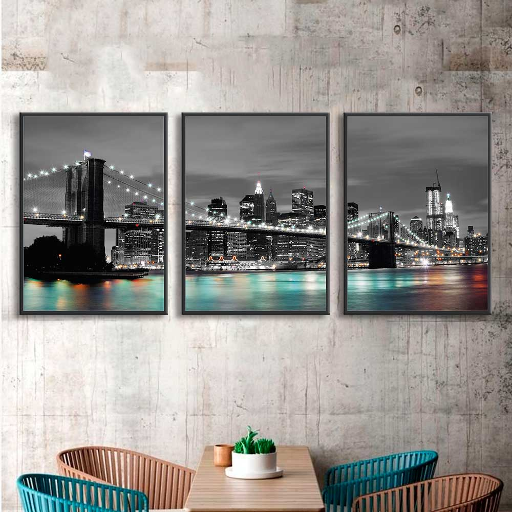 Kit de Quadros Decorativos Ponte do Brooklyn Noturna Iluminada