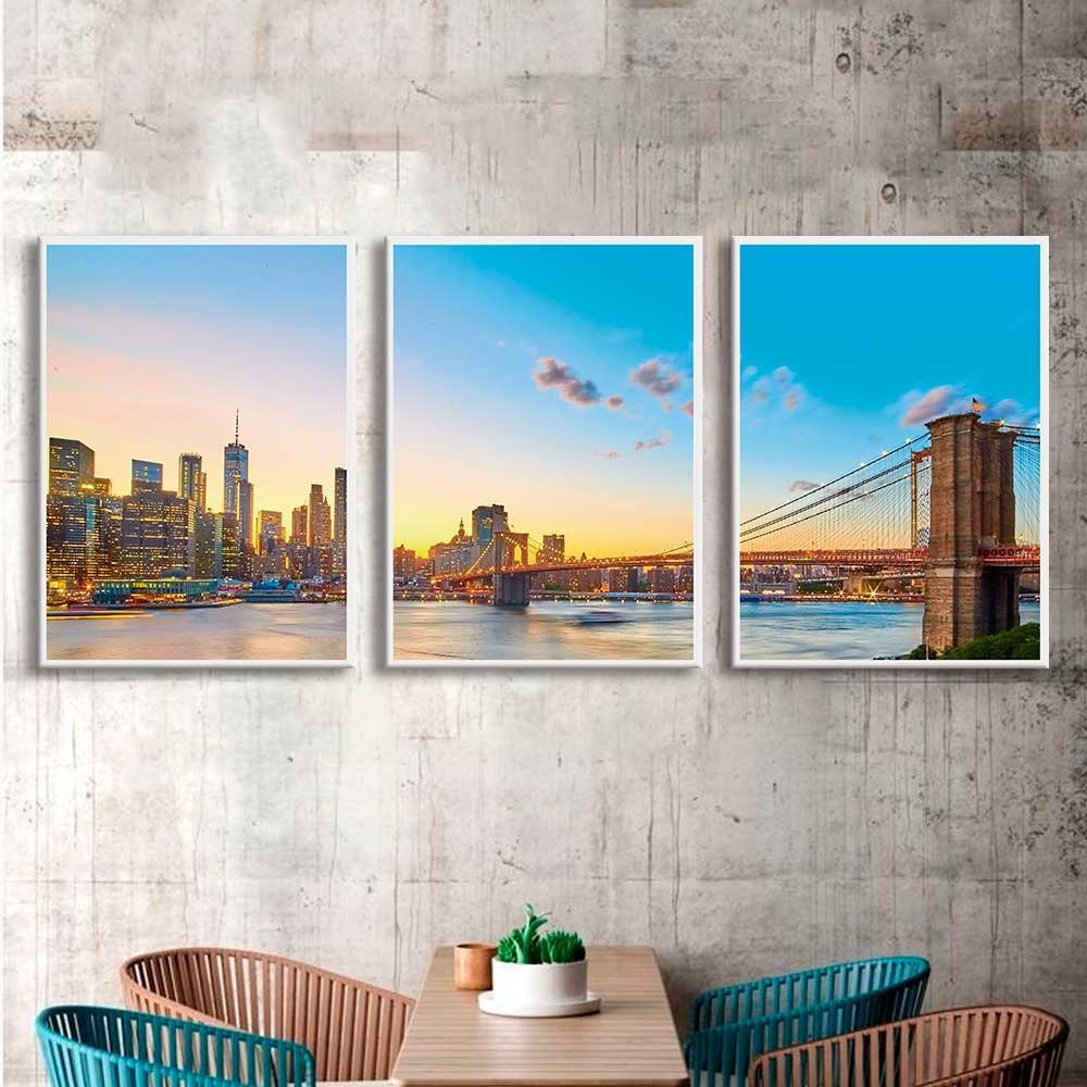 Kit de Quadros Decorativos Ponte do Brooklyn Céu Azul
