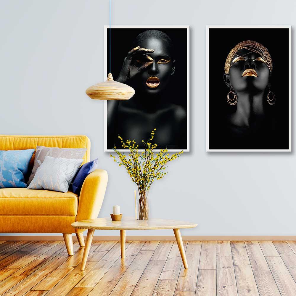 Kit de Quadros Decorativos Tendência do Ano Mulher Negra Gold