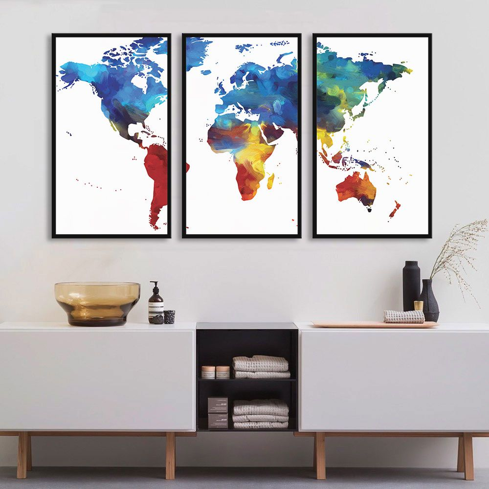 Kit de Quadros Mapa Mundi Colorido
