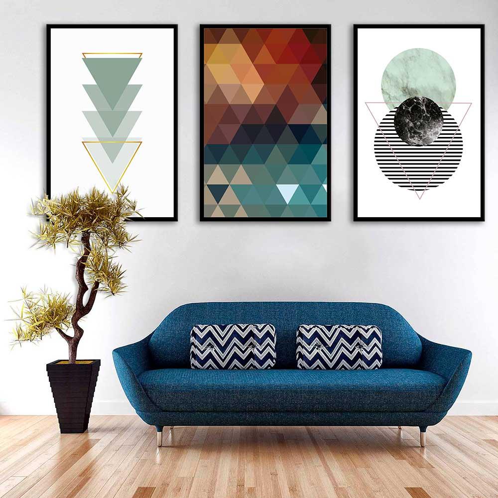 Conjunto de Quadros Decorativos Com Formas Geométricas